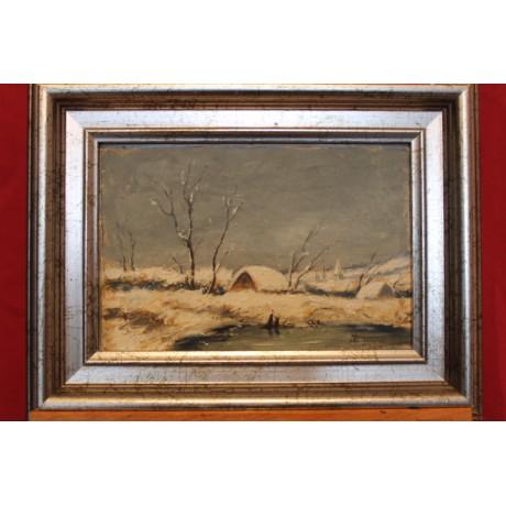Peinture paysage de campagne hivernal